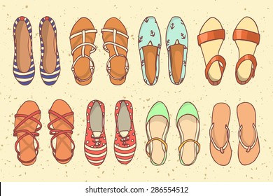 Vector graphic set of hand drawn summer women'??s shoes. Beautiful illustration of stylish accessories. Cool design elements for any business related to the fashion industry.