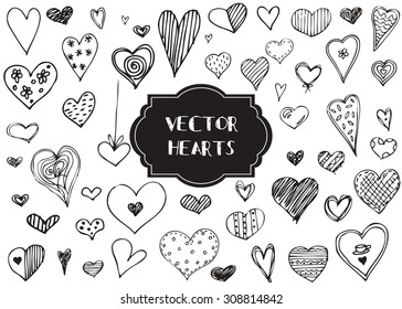 Vector graphic set of hand drawn hearts on a white background.