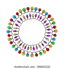 Vector graphic set of hand drawn holiday festoons forming round frames. Hand drawn wreath of light bulbs. Beautiful design elements.