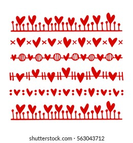 Vector graphic set of hand drawn borders with hearts. Romantic design, perfect for Valentine's day celebration.