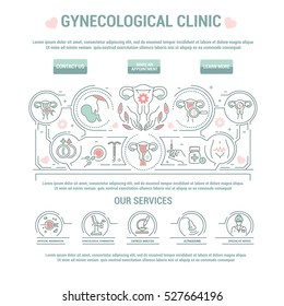 Vector graphic set. Icon in line, countour, thin, flat design. Concept for clinic, medical center, gynecology hospital. Treatment of female genital disorder. Template for main page of web site.