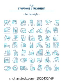 Vector graphic set. Icons in flat, contour, outline thin and linear design. Flu. Symptom, treatment, prevention. Simple isolated icons. Concept illustration for Web site. Sign, symbol, element.