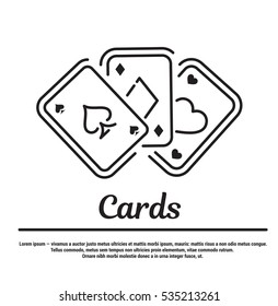 Vector graphic set. Icons in flat, contour, thin and linear design. Playing cards. Simple icon on a white background. Concept illustration for Web site, app. Sign, symbol, emblem.
