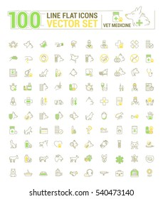Vector graphic set. Icons in flat, contour, thin and linear design.Veterinary Medicine. Treatment, diagnosis and symptoms of pet disease.Consultation of doctor. Concept sign, symbol for Web site, app.