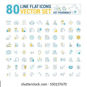 Vector graphic set. Icons in flat, contour, thin and linear design.Vet pharmacy. Preparations for animals.Simple icon on white background.Concept illustration for Web site, app. Sign, symbol, emblem.