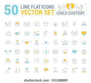 Vector graphic set. Icons in flat, contour, thin and linear design. Custody of children. Parents and state.Simple icon on white background.Concept illustration for Web site, app. Sign, symbol, emblem.