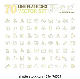 Vector graphic set. Icons in flat, contour, thin and linear design.Lawyer.Online legal advice.Online jurist.Simple icon on white background.Concept illustration for Web site, app.Sign, symbol, emblem.