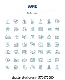 Vector graphic set. Icons in flat, contour, thin, minimal and linear design.Bank,economics, currency, and commerce.Protection of bank. Euro, dollar and gold.Concept sign, symbol for Web site, app.