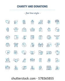 Vector graphic set. Icons in flat, contour, thin and linear design.Charity and donation.Simple icon on white background.Concept illustration for Web site, app.Sign, symbol, emblem.