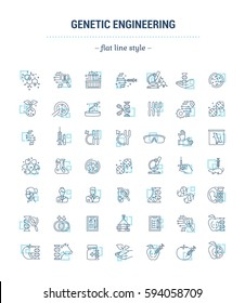 Vector graphic set. Icons in flat, contour, thin, minimal and linear design.Genetic Engineering. Human DNA, cloning, reproduction, research laboratory.Concept illustration for Web site.Sign, symbol.