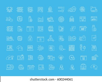 Vector graphic set. Icons in flat, contour, thin, minimal and linear design.Cybersecurity. Protection of virtual electronic data, operations.Concept illustration for Web site.Sign, symbol.