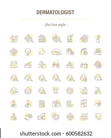 Vector graphic set. Icons in flat, contour, thin, minimal and linear design.Dermatologist.Problem, analysis, treatment.Skin of face, head, hand and body.Concept illustration for Web site.Sign, symbol.