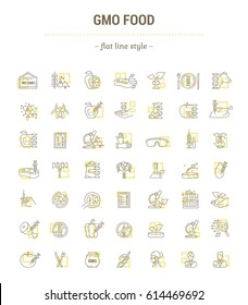 Vector graphic set. Icons in flat, contour, thin, minimal and linear design.Gmo food. Genetically modified food product.Modern technology.Concept illustration for Web site, app.Sign,symbol,element.