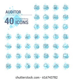 Vector graphic set. Icons in flat, contour, thin, minimal and linear design.Audit. Management of financial statements,payments.Monitoring of accounting.Concept illustration for Web site.Sign,symbol.