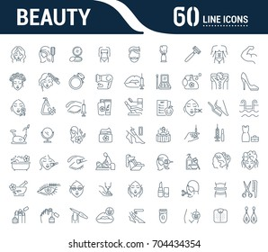 Vector graphic set. Icons in flat, contour, thin, minimal and linear design.Beauty. Attributes of beauty for men and women.Concept illustration for Web site.Sign,symbol, element.