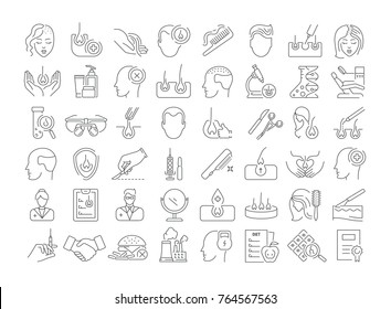 Vector graphic set. Icons in flat, contour, thin, minimal and linear design. Hair transplantation. Hairless men and women. Concept illustration for Web site. Sign, symbol, element.