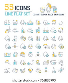 Vector graphic set. Icons in flat, contour, outline thin and linear design. Cosmetology. Skin care. Simple isolated icons. Concept illustration for Web site. Sign, symbol, element.