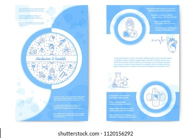 Vector graphic set. Medicine and health care. Medical flyer. Information sheet. Editable stroke size. Icons in flat, contour, outline, thin, linear design. Simple isolated icons. Concept illustration.