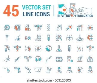 Vector graphic set. Silhouette, logo, icon, logo. Artificial insemination, bioengineering, biotechnology. Birth of embryo in linear, flat, contour, thin design. App, Web site template, infographic.
