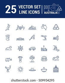 Vector graphic set. Silhouette, logo, icon. Australian continent. Linear, flat, contour, thin. App, Web site template. Concept Australian culture, animals, traditions. Sign, element, emblem, symbol.