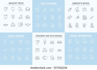 Vector graphic set. Simple isolated Icons in flat, contour, outline, thin and linear design.Dental care and dentist.Dental disease and treatment. Prosthetics, removal. Element, emblem, symbol, logo.