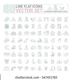 Vector graphic set.Icons in flat, contour,thin and linear design.Center Alternative Medicine. Check up diagnosis.Simple isolated icon.Concept illustration for Web site app.Sign,symbol,emblem.