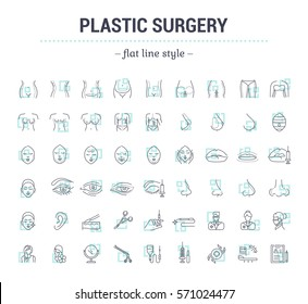 Vector graphic set.Icons in flat, contour,thin, minimal and linear design.Plastic surgery. Set of silhouette.Simple isolated icons.Concept illustration for Web site app.Sign,symbol,element.