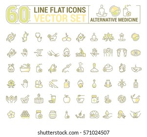 Vector graphic set.Icons in flat, contour,thin and linear design.Alternative medicine. Natural beauty.Simple isolated icon on white background.Concept illustration for Web site app.Sign,symbol,emblem.