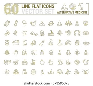 Vector graphic set.Icons in flat, contour,thin and linear design. Alternative medicine. Natural beauty. Simple isolated icon on white background. Concept illustration for Web site app.