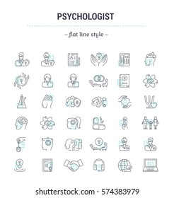 Vector graphic set.Icons in flat, contour,thin, minimal and linear design.Psychologist. Types of psychological support. Simple isolated icons.Concept illustration for Web site app.
