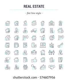 Vector graphic set.Icons in flat, contour,thin, minimal and linear design.Real estate.Simple isolated icons.Concept illustration for Web site app.