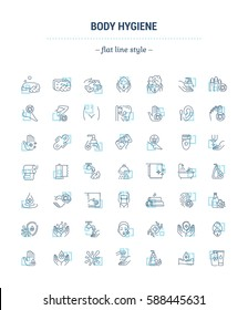 Vector graphic set.Icons in flat, contour,thin, minimal and linear design.Care of body.Hygiene products.Body wash, epilation, depilation, peeling.Concept of simple isolated icons.Sign,symbol,element.