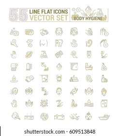 Vector graphic set.Icons in flat, contour,thin, minimal and linear design.Care of body.Hygiene products.Body wash, epilation, depilation, peeling.Simple isolated icons.Concept sign,symbol,element.