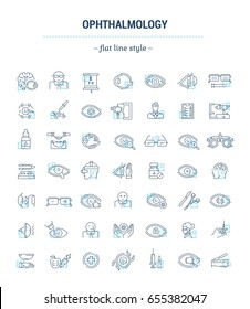 Vector graphic set.Isolated Icons in a flat, contour, thin, minimal and linear design.Ophthalmology.Glas diseases, treatment.Cataract, glaucoma.Concept illustration for Web site.Sign, symbol, element.
