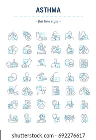 Vector graphic set.Isolated Icons in flat, contour, thin, minimal and linear design. Asthma disease. Problem, symptom, allergen, treatment.Concept illustration for Web site.Sign,symbol, element.