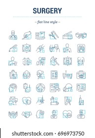 Vector graphic set.Isolated Icons in flat, contour, thin, minimal and linear design.Surgery.Operation.Surgical clinic, center, equipment, instrument, tool.Concept illustration.Sign,symbol, element.