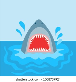 Vector graphic of a shark with an open mouth