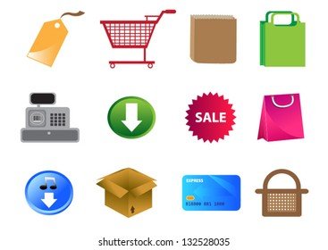 Vector graphic of Shopping Mall and Online Marketing icons. Colors and sizes can be changed.