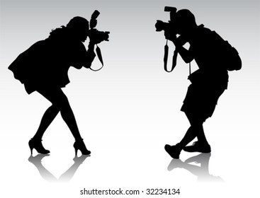 Vector graphic silhouettes of people. Men and women are photographed