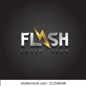 Vector graphic silver and gold Flash sign with lightning symbol