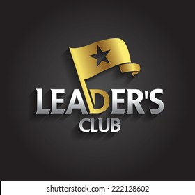 Vector graphic silver and gold symbol for company leaders with flag and star shape