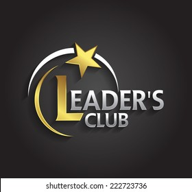 Vector graphic silver and gold symbol for company leaders with star shape