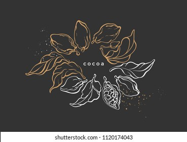 Vector graphic symbol of cocoa tree, branch, leaves, bean. Vintage hand drawn template, tropic card, sketch gold wreath Luxury illustration, aroma bio food Nature design, antique banner, natural sweet
