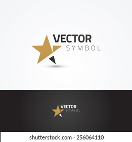 Vector graphic symbol with stylized star in positive and negative