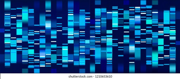 Vector graphic template of blue hues monochromatic big genomic data visualization, DNA test and genome map sequence.