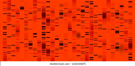 Vector graphic template of orange hues monochromatic big genomic data visualization, DNA test and genome map sequence.