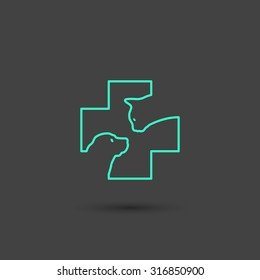 Vector graphic vet icon with a cat and a dog in a cross in minimal style, line symbols in negative color