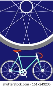 Vector graphic work with bicycle content. Posters can be made for sports clubs or competitions. Banner or gift card can be made