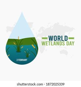 vector graphic of world wetlands day good for world wetlands day celebration. flat design. flyer design.flat illustration.
