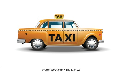 Vector graphic yellow, retro Taxi cab on white background with black Taxi sign